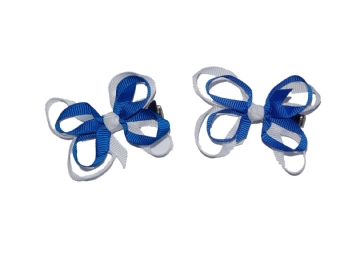 Bow Clips - Royal/White